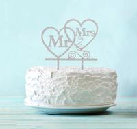 Топпер в торт Mr & Mrs, цвет серебро
