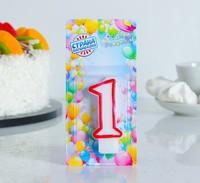 """Свеча восковая для торта """"Цветной ободок"""" цифра 1, цвет Красный"""
