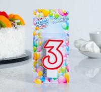 """Свеча восковая для торта """"Цветной ободок"""" цифра 3, цвет Красный"""