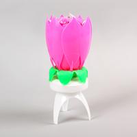 Свеча для торта музыкальная, розовая