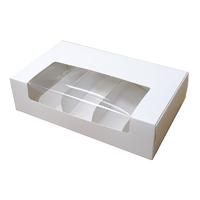 Коробка для эклеров с разделителем Белая с окном, 5 ячеек