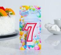 """Свеча восковая для торта """"Цветной ободок"""" цифра 7, цвет Красный"""