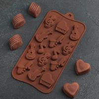 Форма для шоколада «Музыкальные инструменты», 21,5×10,5 см, 14 ячеек, цвет МИКС
