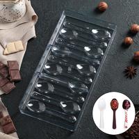 """Форма для шоколада поликарбонат 27,5×13,5 см """"Ложки"""", 10 ячеек"""