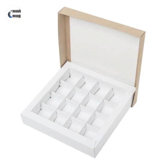 Коробка для 16 конфет крафт