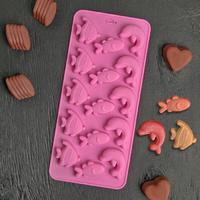 Форма для шоколада «Подводный мир», 15 ячеек, 21×10×1 см, цвет МИКС