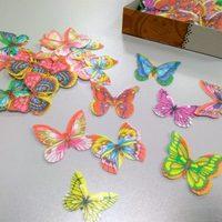 Вафельные бабочки цвета микс, уп. 10шт