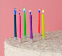 Набор свечей в торт 6 штук, с цветным пламенем