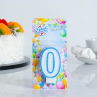 """Свеча восковая для торта """"Цветной ободок"""" цифра 0, цвет Синий"""