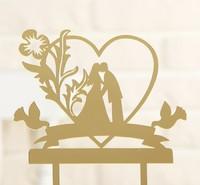 """Топпер на торт 13х18 см """"Любовь навсегда"""", цвет золото"""