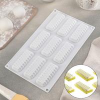 Форма для муссовых десертов «Жабо», 29,2×17,2 см, 9 ячеек, цвет белый