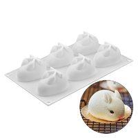Форма для выпечки и муссовых десертов «Кролик», 29×17,2 см, 6 ячеек, цвет белый