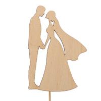 Топпер свадебный «Влюблённые молодожёны» силуэт,7х10 см, неокрашенный