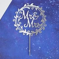 Топпер «Mr&Mrs», венок, цвет серебряный