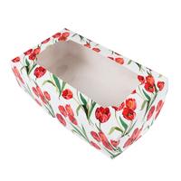 """Коробка под зефир """"Тюльпаны красные"""" с окном 25*15*7 см"""