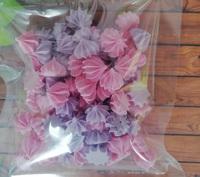 сахарные фигурки мини-безе розово-сиреневые (размер 1см)