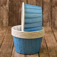 Капсулы для маффинов с бортиком Светло-голубые 50*40 мм, 100шт