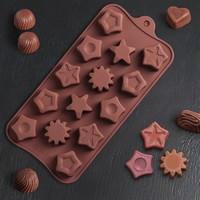 Форма для шоколада «Звёзды», 21×11×1,5 см, 14 ячеек
