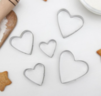 Набор форм для вырезания печенья «Сердечко», 5 шт, 7,5×7,4 см
