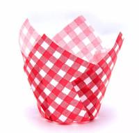 Капсула тюльпан красно белая в клетку 80*50мм