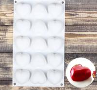 Форма для муссовых десертов и выпечки «Сердца», 29,8×17,3 см, 15 ячеек (5×5×3 см), цвет белый