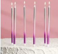"""Свечи в торт """"С днём рождения"""" 6 шт, высокие, фиолетовый, розовый, серебро"""