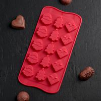 Форма для шоколада «Новый год», 21×10,5 см, 15 ячеек, цвет МИКС